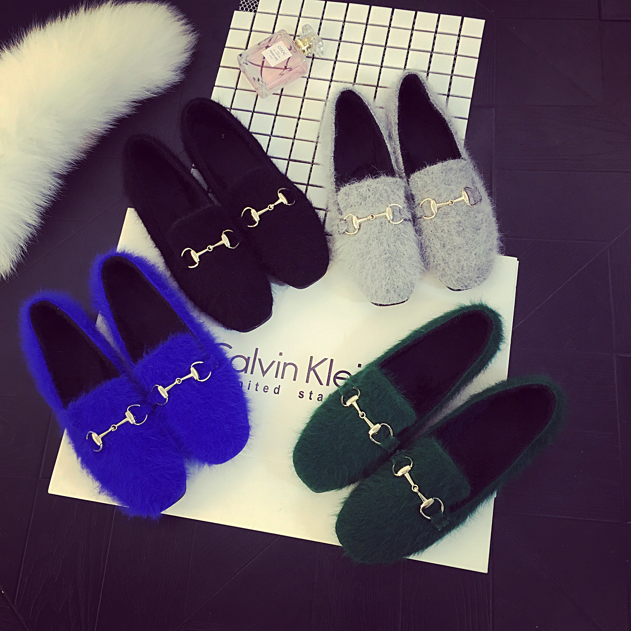 mink fur round toe flats women autumn new plush shoes shallow mouth metal chain flat heel work shoes loafers<br><br>Aliexpress