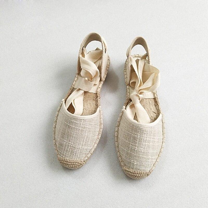 Canvas Summer Women's Espadrille Sandals Flats Ankle Strap Hemp Bottom Fisherman Women Shoes For 2018 SpringAutumn Women Loafer (6)