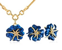 Flower Enamel Women Costume Jewelry Sets Necklace Earring Set European American Style Jewellery Luxury Brand Love Birthday Gift
