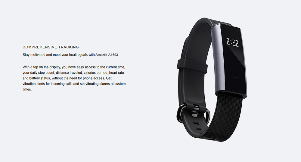 Xiaomi Huami AMAZFIT A1603 Smartband Fitness Tracker Android iOS Compatible Bluetooth 4.0 with Alarm/Bluetooth Support Touch Key