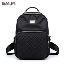 NADALIYA NEW 2017 Preppy Style Lozenge Backpacks Women Nylon Shoulder Bags Student Bag Black Backpack Mochilas Escolar Feminina(China)