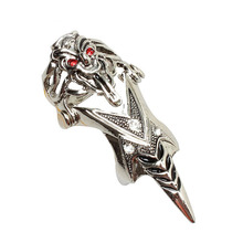 Antique Silver Punk Gothic Skull Head Women And Men's Alloy Claw Spike Armor Knuckle Joint Full Finger Ring