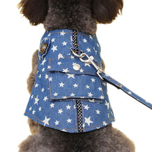 2 Pcs/Set Pet Denim Vest + Harness Puppy Jean Jacket With Pocket Dog Vests + Leash Comfortable Breathable Pets Clothing(China)