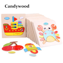 Wooden 3D Puzzle Jigsaw Wooden Toys For Children Cartoon Animal Puzzles Intelligence Kids Children Toys Educational Toy(China)
