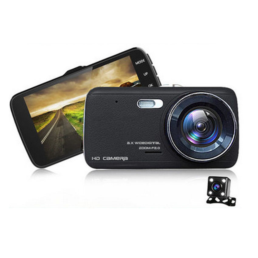 4 inches HD 1296P Car DVR/Camera Rear View Dual Camera Double recorded before and after the vehicle traveling data recorder<br><br>Aliexpress