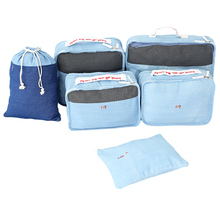 Denim 6 Pcs/set Luggage Home Travel Bag Clothes Cosmetic Underwear Shoe Socks Makeup Bags Accessories Organizer Set Product(China)