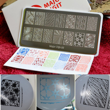 Top Quality 10pcs/set Major Dijit Nail Stamping Plates Nail Art Stamping Template Image Plate Nail Stencil With protectiveback