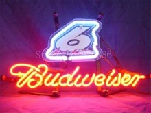 "NEON SIGN For New Budweiser Autographed Nascar #6 Race Number Signboard REAL GLASS BEER BAR PUB Shop Custom Light Signs 17*14""(China)"