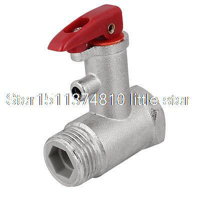 Red Lock Lever Silver Tone Metal Safety Valve 0.7Mpa for Electric Water Heater<br><br>Aliexpress