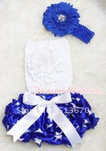 White Giant Bow Patriotic Star Bloomer, White Peony White Crochet Tube Top, Royal Blue Headband Flower 3PC Set MACT204