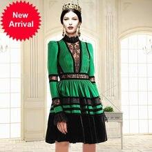 b5c0f94739 Runway Designer High Quality 2018 Autumn High Neck Lace Long Sleeve Split  Bump Fold Velvet Dress Green Sexy Female Vestidos