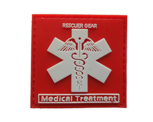 5*5CM Rescuer Gear Medical Treatment Badge Special Forces Armband 3D PVC Patch 3D PVC RUBBER SQUARE PATCH military patch(China)