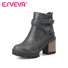 ESVEVA  2016 British Fashion Boots Winter Women Shoes Thick High-Heel Ankle Boots Round Toe Ladies Motorcycle Boots Size 34-43