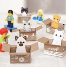 3D Cartoon Kawaii Scrapbooking Cat Box Stickers Cute Korean Stationery Sticky Notes Office School Supplies Memo Pad