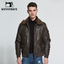 Kenntrice Classic Fleece Collar Pilot Leather Jackets Men Leather Coats Thick Brown Mens Bomber Jackets Veste cuir homme Large