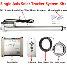 "Single Axis 1KW Solar Tracker for Solar Panel Tracking System -400mm/16"" Linear Actuator +Controller +Remote for Sunlight Track"