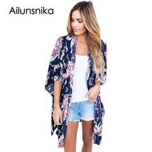 Ailunsnika New 2017 Fashion Summer Beachwear Bohemian Night Club Dress Flower Print Open Front Kimono vestido de festa DL42209