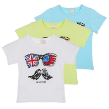 Cool Cotton 2-7Y Baby Boys Girls Kids Summer Clothes Moustache Print Shirts Short Sleeves T-shirt High Quality
