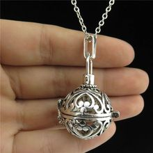 GLOWCAT B0Q989 Vintage Silver Glow in the Dark Copper Fragrance Diffuser Round 28mm Mini Heart Locket Necklace Women