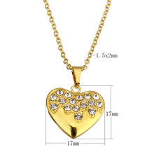 Fashion Stainless Steel Necklace Heart Pendant with rhinestone gold color plated for woman Personality Statement Jewelry 18Inch