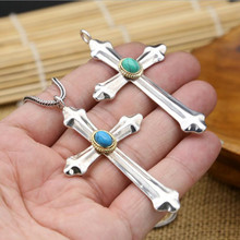 Cross Pendant blue 100% Real 925 Sterling Silver Necklace Pendant Jewelry For Men and Women GP5(China)