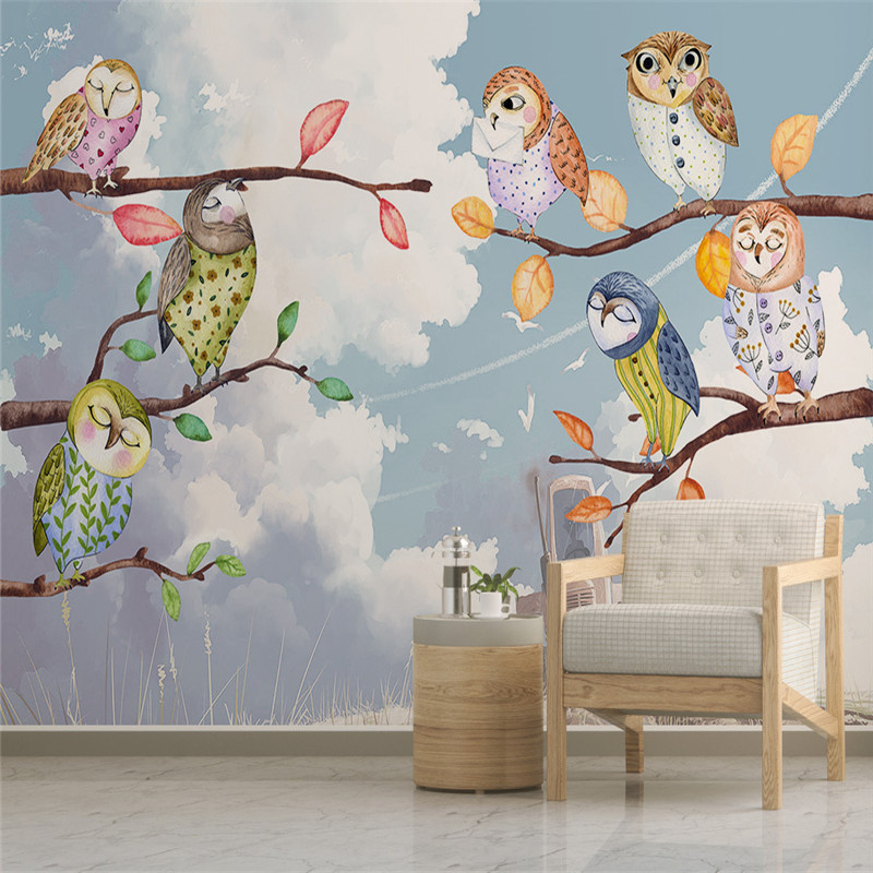 3D Custom Photo Wallpapers Blue Sky Murals Woods Birds Kids Wallpapers for Childrens Room Background Walls Murals Home Decor<br>