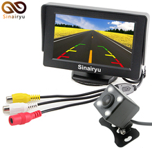 Free Shipping, LED Night Vision Car Rearview Reversing Camera Parking Backup Monitor System + 4.3 inch Color LCD Car Monitor