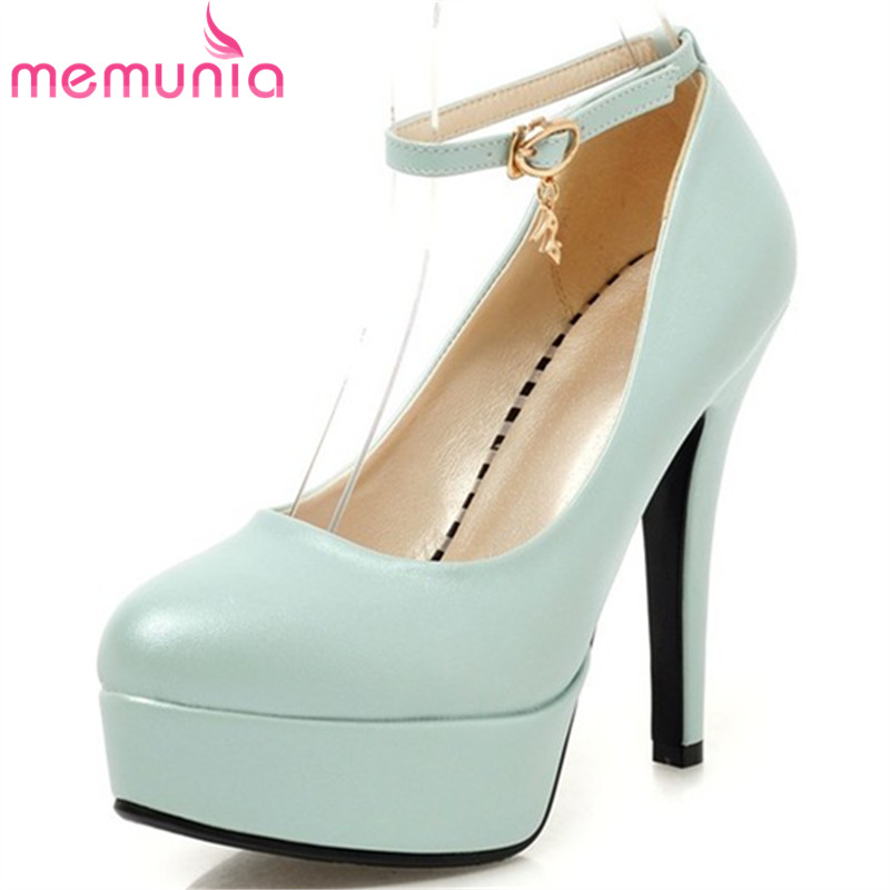 MEMUNIA Women pumps ankle strap fashion nude color ladies wedding shoes woman pointed toe high heels platform shoes<br>