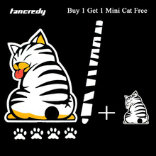 Tancredy Cartoon Funny Moving Tail Cat Stickers Reflective Car Stickers And Deacals Window Wiper Decals Rear Windshield Sticker