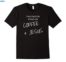 GILDAN This Pastor Runs on Coffee & Jesus Christian Clergy T Shirt T-Shirts Famous Round Neck Crazy Top(China)