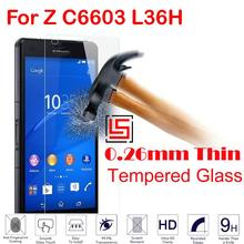0.26mm 2.5D 9H Tempered Glass Verre Cristal Phone Front Film Screen Protector For Sony Xperia Experia Xpera Xperi Z C6603 L36H