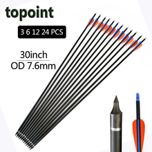 12pcs 30 inch Spine 400 Carbon Arrow for Compound & Recurve Bow Hunting and Archery Shooting Target replaceable arrowheads(China)