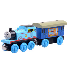 2pcs/lot Baby educational vehicle toys Wooden Magnetic Tomas Railway Train head Tomas and Passenger car(China)