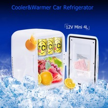 4L Mini Car Refrigerator 12V ABS Cooler Warmer Box Heating Food Travel Fridge Electric Portable Icebox Freezer Box No Compressor