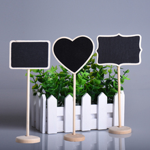 1pc Modern Rectangle Heart-shaped Wooden Holder Blackboard Message Board Seat Number Tag Sign Stent Wedding Party Decorations(China)