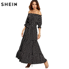 SHEIN Women Summer Beach Long Dresses Ladies Black and White Polka Dot Off The Shoulder Half Sleeve Tie Waist A Line Maxi Dress(China)