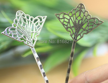 28x35mm Blank Bobby Pins Base Settings Filigree Hollow Flower Pads Hair Clip Hairpins Crafts Findings Silver/ bronze tone