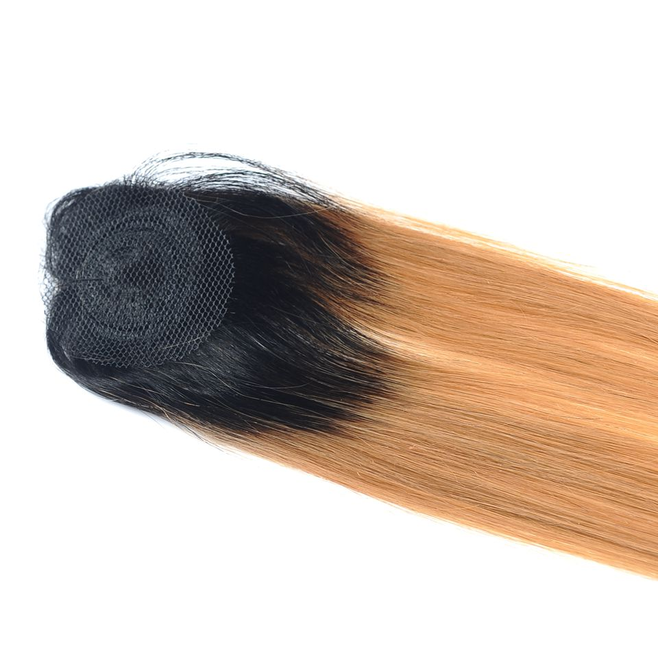 Pinshair Pre-Colored Honey Blonde 1B 27 Brazilian Straight Hair Bundles With Closure Ombre Dark Roots Human Hair Nonremy No Shed (22)
