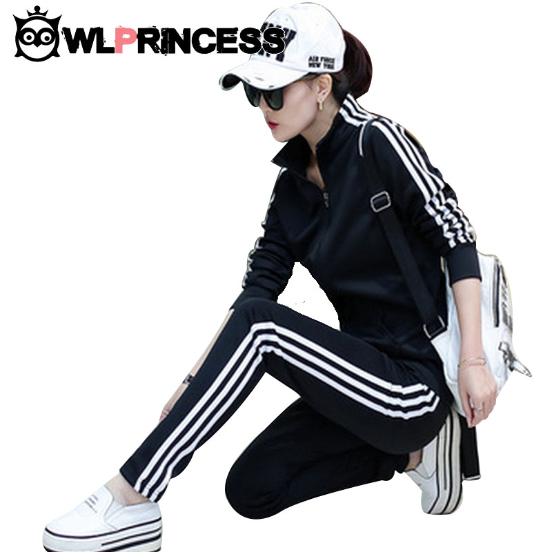 Women Plus Size Stand Solid Running Sets Autumn Winter Zipper Tracksuits Long-sleeve Sport Suit Mujer 2Piece Set sportswear<br><br>Aliexpress