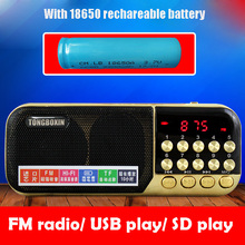 Wholesale With 18650 Chargeable Battery Portable USB TF Speaker MP3 Audio Player FM Radio Time Clock Support 3.5mm Earphone Out(China)