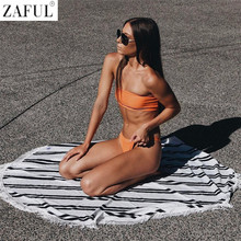 ZAFUL 2017 NEW Style Rib Texture Bandeau Bikini Set Brazilian Swimwear Female Bathing Suit Women Sexy Swimsuit Biquinis