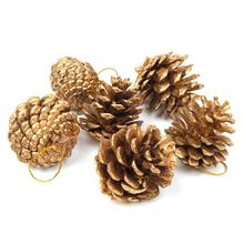 6pcs 5cm Christmas Tree Hanging Balls Pine Cones with String Pinecone Pendant Xmas Tree Decoration Crafts Home Ornament