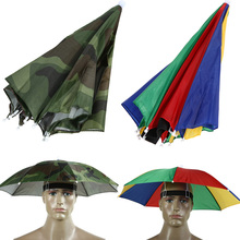 HOT Camouflage Foldable Headwear Sun Umbrella Fishing Hiking Beach Camping Headwear Cap Head Hats Outdoor Sport Umbrella Hat Cap