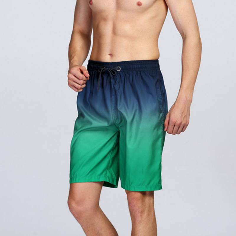 Funic Men Shorts Breathable Trunks Pants Solid Gradient Swimwear Beach Slim Wear