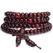 New arrival!6 mm 108 Prayer Beads Tibetan Buddhist Mala Buddha Bracelet Rosary Wooden Bangle Jewelry(China)