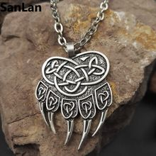 1pcs dropshipping impress of veles pendant bear paw necklace huge warding veles pendant jewelry with 50cm metal chain SanLan(China)