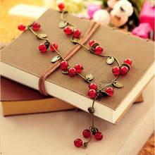 NK406 multi layer necklace  jewelry Cherry Chain Necklaces Imitation pearl maxi collares summer jewelry statement necklaces