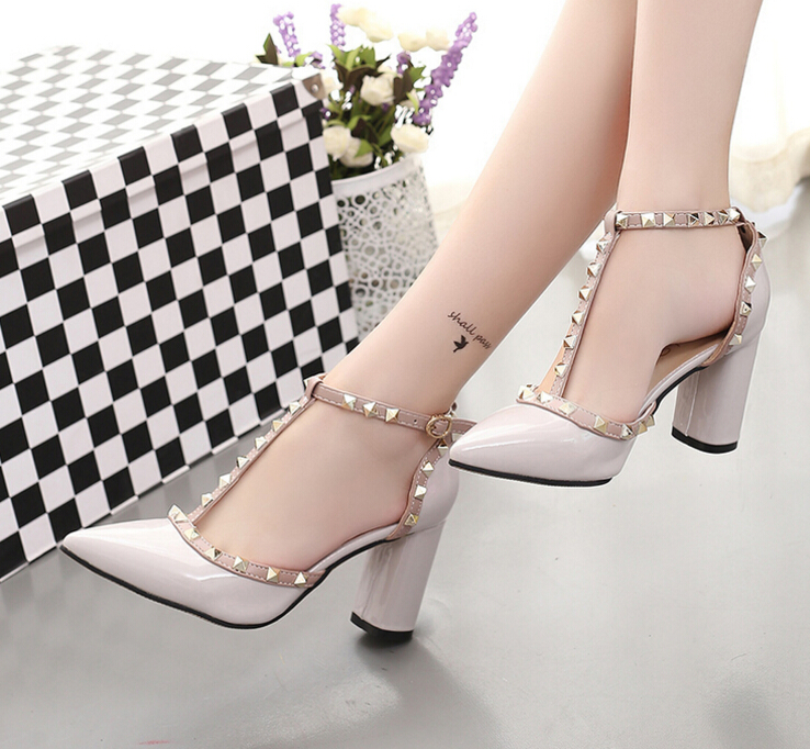 women High-Heeled Shoes Fashion pointed Rivet shoes Wedding Pumps 2017 Spring Valentine square toe Elegant lady Leather shoes<br><br>Aliexpress