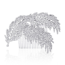 2PC Feather hair comb head comb women pearl jewelry hair combs bridal accessories hair ornaments bridal tiara wedding accessory(China)