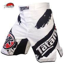 SUOTF Black and white ink breathable cotton loose and comfortable personality boxing training and competition shorts MMA thai